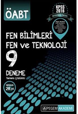 Pegem Yayınları 2016 ÖABT Fen Bilimleri Tamamı Çözümlü 9 Deneme Sınavı