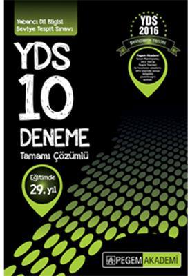 2016 YDS Pegem Yayınları Tamamı Çözümlü 10 Deneme Pegem Yayınları