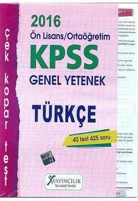 X Yayıncılık 2016 KPSS Ortaögretim  Önlisans Türkçe Çek  Kopart Yaprak Test