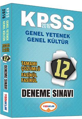 2016 KPSS Yediikilm Yayınları GK GY Tamamı Çözümlü 12 Fasikül Deneme