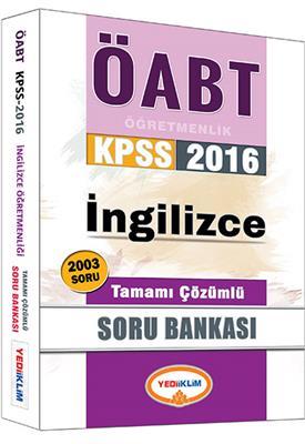 Yediiklim Yayınları 2016 ÖABT İngilizce Tamamı Çözümlü Soru Bankası