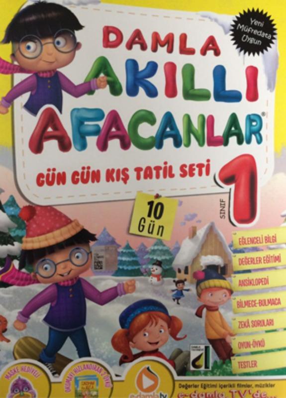 Tatil Kitabı Akıllı Afacanlar Gün Gün Kış Tatil Seti Damla Yayınları 1 Sınıf