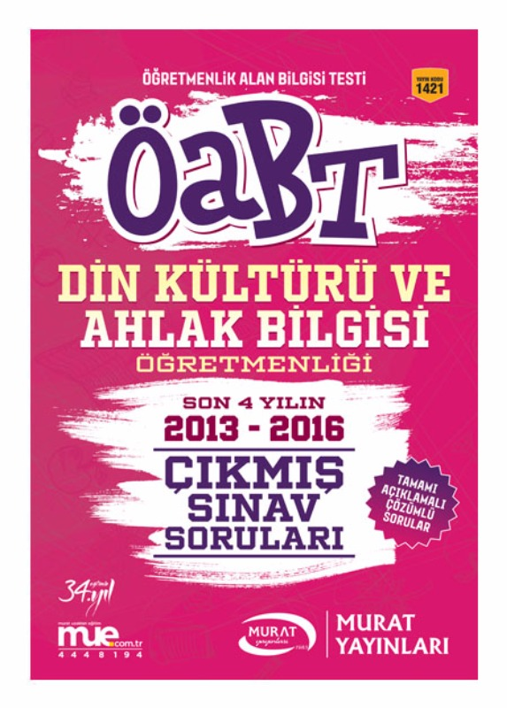 ÖABT Din Kültürü ve Ahlak Bilgisi  Çıkmış Sınav Soruları Murat Yayınları 2017