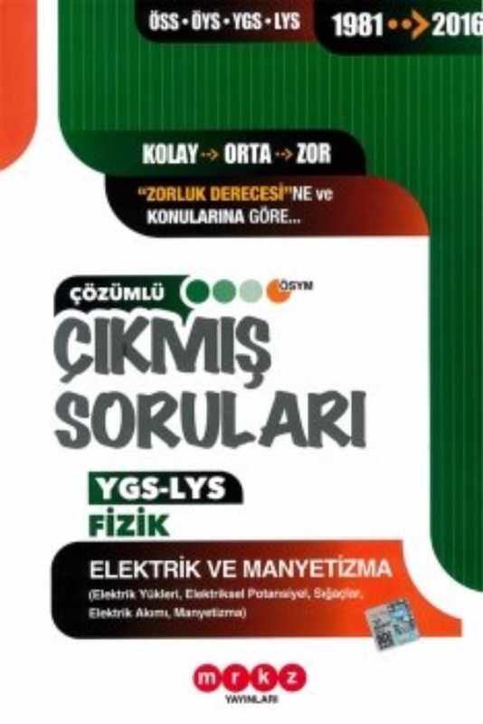 Merkez Yayınları YGS LYS Fizik Elektrik ve Manyetizma Çözümlü Çıkmış Sorular 1981-2016