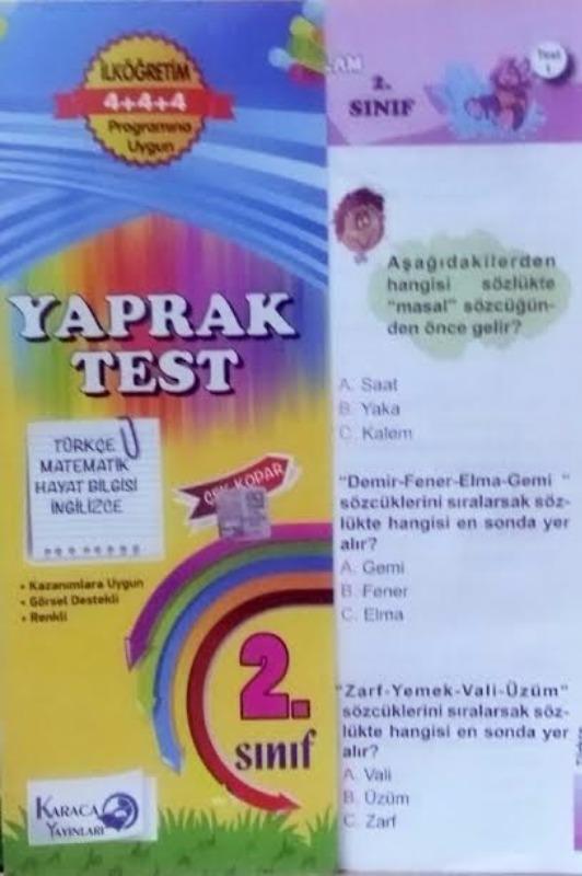 2 Sınıf Tüm dersler Yaprak Test Karaca Yayınları