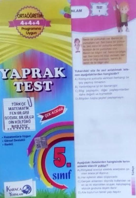 5 Sınıf Tüm dersler Yaprak Test Karaca Yayınları