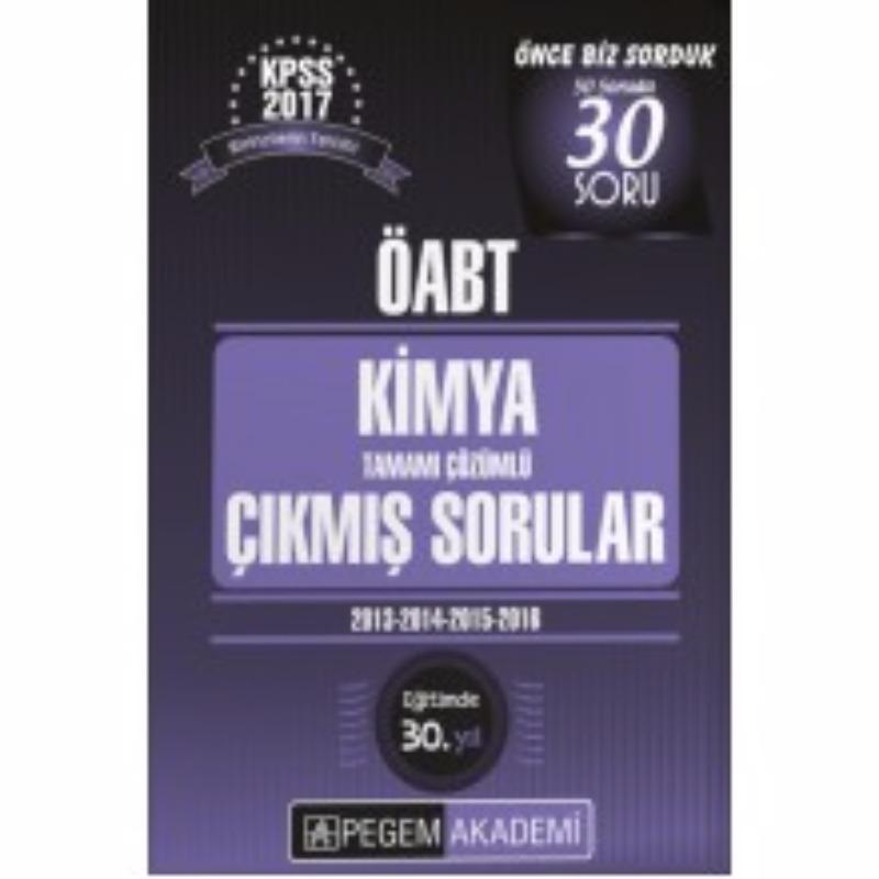 Pegem Yayınları 2017 ÖABT Kimya Tamamı Çözümlü Çıkmış Sorular