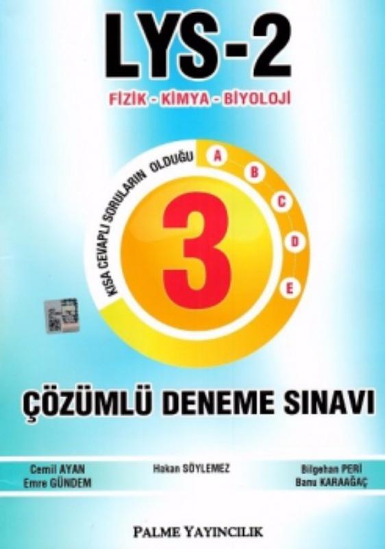 LYS-2 Fizik-Kimya-Biyoloji Çözümlü 3 Deneme Seti Palme Yayınları