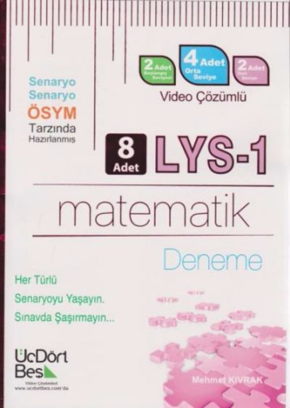 ÜçDörtBeş Yayınları LYS1 Matematik Video Çözümlü 8 Deneme
