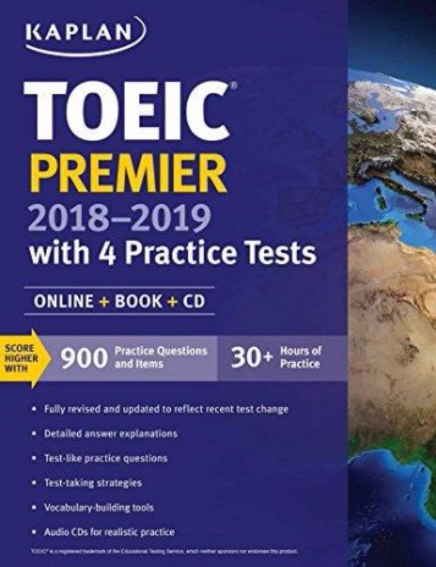 TOEIC Premier 2018 2019 with 4 Practice Tests OnlineBookCD Kaplan Publishing