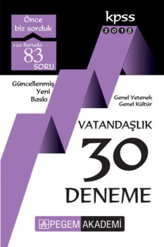 KPSS GY GK Vatandaşlık 30 Deneme Pegem Yayınları 2018