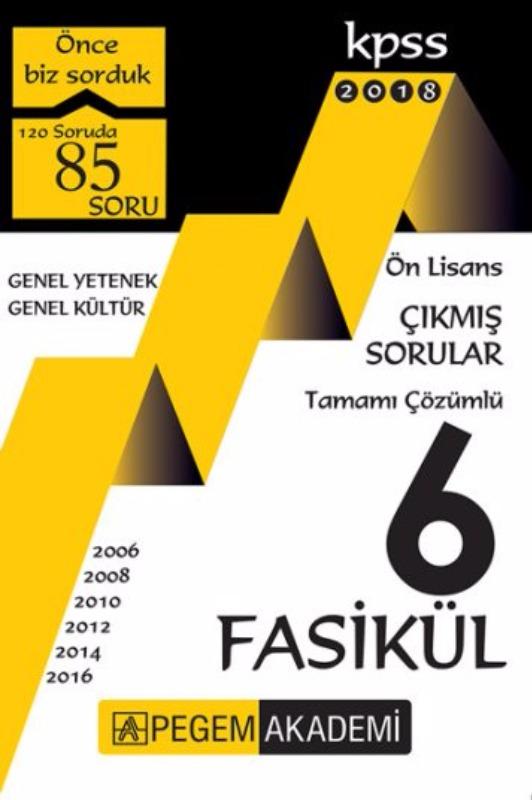 Pegem Yayınları 2018 KPSS Önlisans Tamamı Çözümlü 2006 - 2016 6 Fasikül Çıkmış Sorular