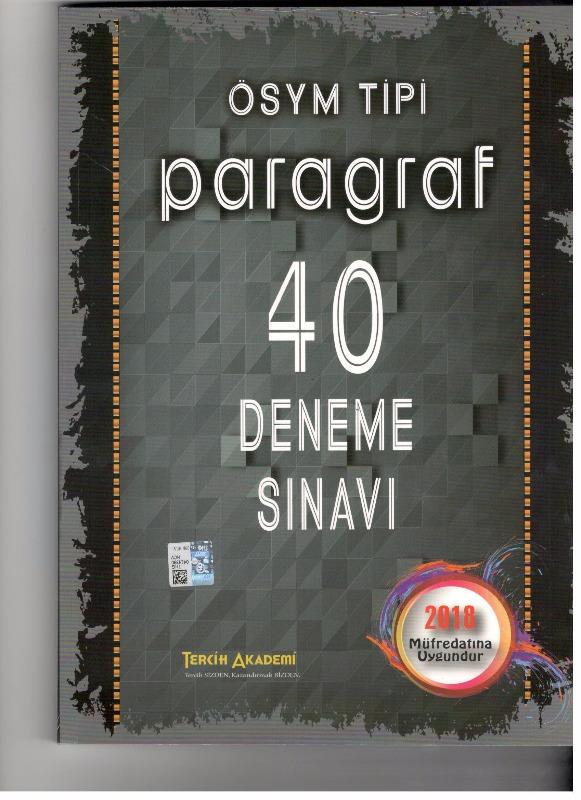 Ösym Tipi Paragraf 40 Deneme Sınavı Tercih Akademi Yayınları