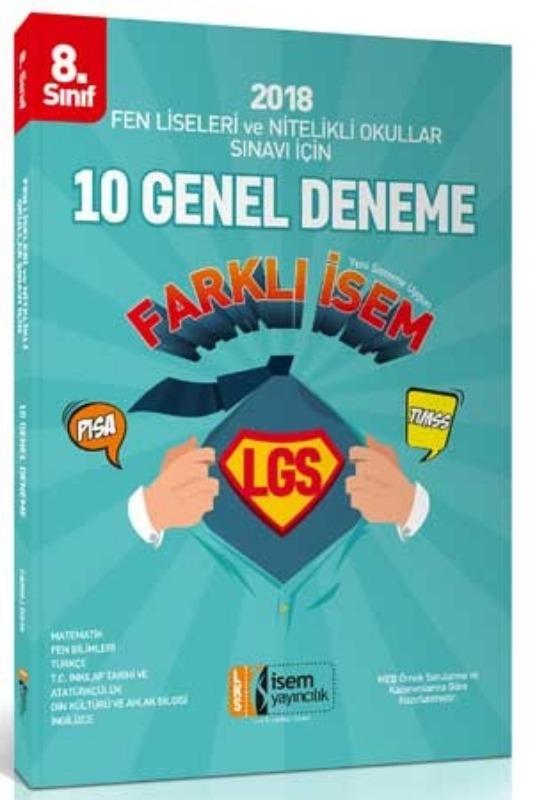 8. Sınıf Fen Liseleri ve Nitelikli Okullar Sınavı İçin Tüm Dersler 10 Deneme Sınavı İsem Yayınları