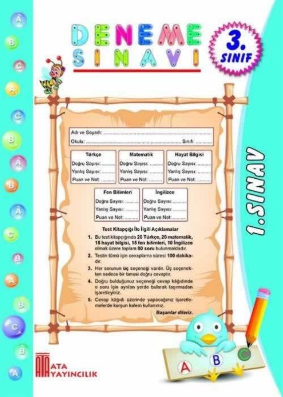 3.Sınıf 6 Adet Poşet Deneme Ata Yayınları