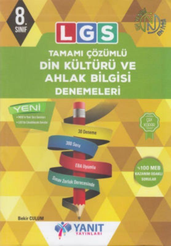 LGS Tamamı Çözümlü Din Kültürü ve Ahlak Bilgisi Denemeleri Yanıt Yayınları