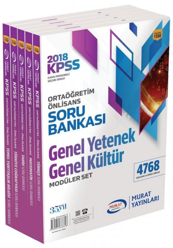 Murat Yayinlari 2018 KPSS Ortaögretim Ön Lisans Modüler Soru Bankasi Genel Yetenek Genel Kültür