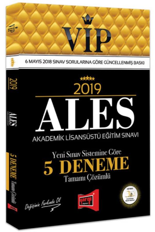 ALES VIP Yeni Sınav Sistemine Göre Tamamı Çözümlü 5 Deneme Yargı Yayınları 2019