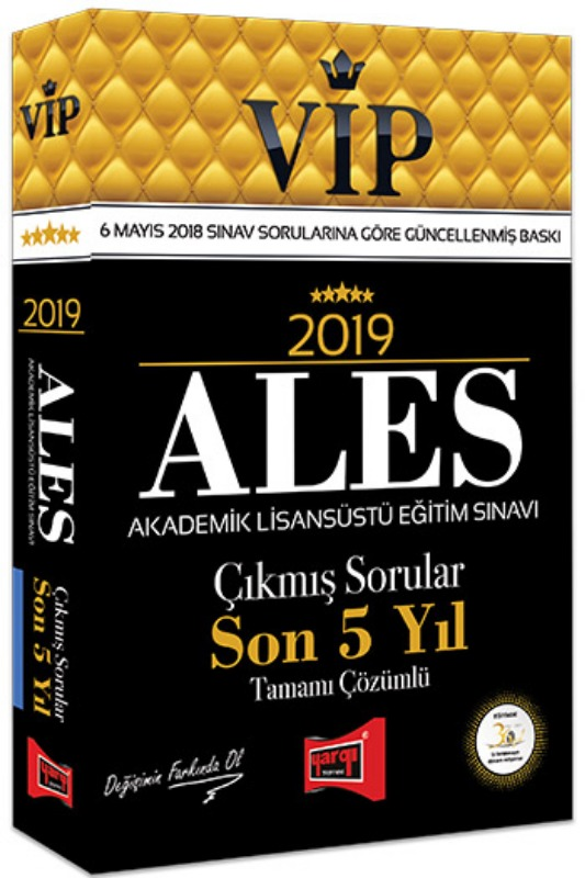 Yargı Yayınları  ALES VIP Tamamı Çözümlü Son 5 Yıl Çıkmış Sorular