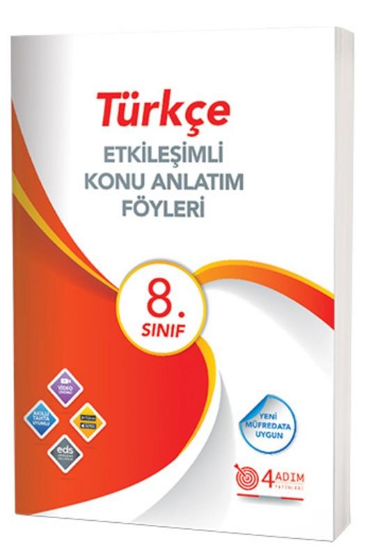 4 Adım Yayınları 8. Sınıf Türkçe Etkileşimli Konu Anlatım Föyleri