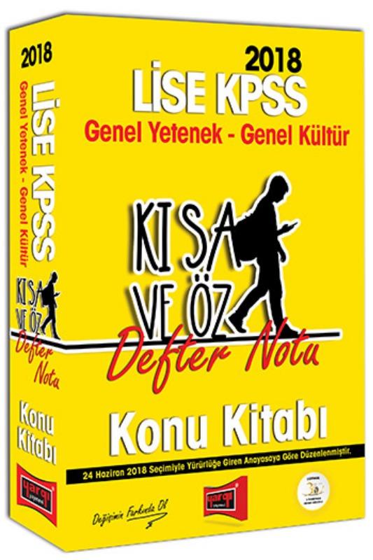 Yargı Yayınları 2018 KPSS Lise Genel Yetenek Genel Kültür Kısa ve Öz Defter Notu Konu Kitabı