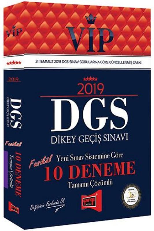 Yargı Yayınları 2019 DGS VIP Yeni Sınav Sistemine Göre Tamamı Çözümlü 10 Fasikül Deneme