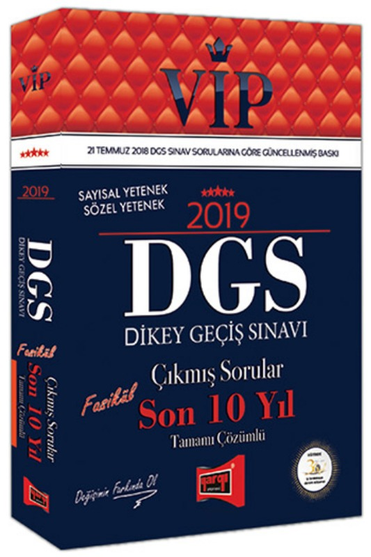 Yargı Yayınları 2019 DGS VIP Sayısal - Sözel Yetenek Son 10 Yıl Tamamı Çözümlü Fasikül Çıkmış Sorular