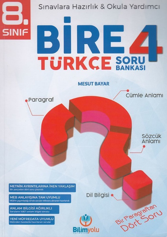 Bilimyolu Yayıncılık 8. Sınıf Bire 4 Türkçe Soru Bankası