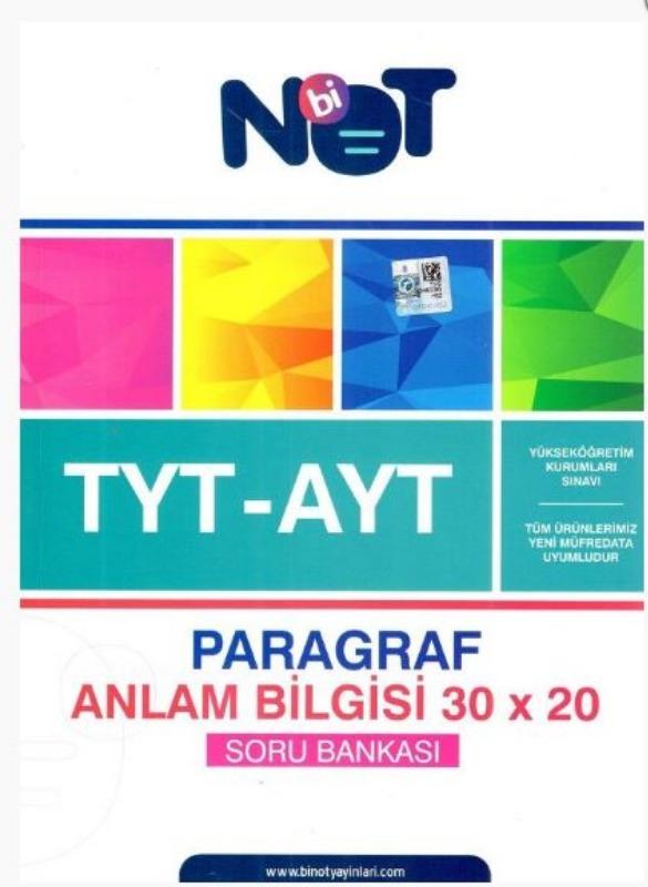 BiNot Yayınları AYT Paragraf Anlam Bilgisi 30x20 Soru Bankası