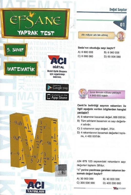 5.Sınıf Matematik Çek Kopart Yaprak Test Açı Yayınları