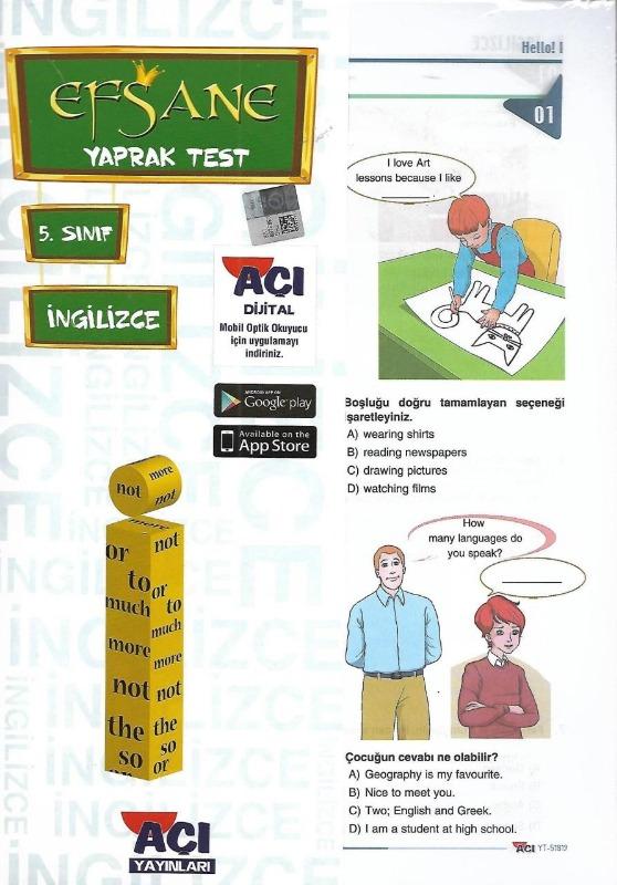 5.Sınıf İngilizce Yaprak Test Açı Yayınları