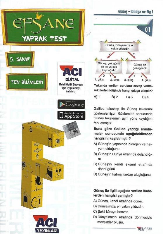 5.Sınıf Fen Bilimleri Yaprak Test Açı Yayınları