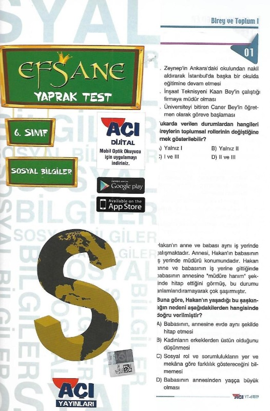 6.Sınıf Sosyal Bilgiler Yaprak Test Açı Yayınları