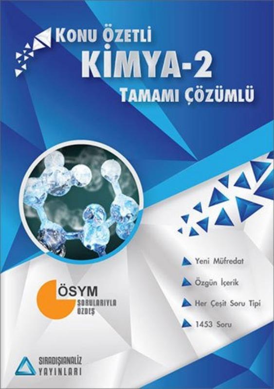 Sıradışıanaliz Yayınları AYT Kimya 2 Konu Özetli Tamamı Çözümlü