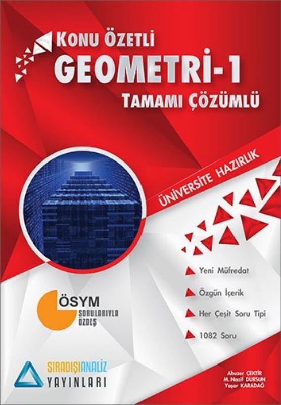 Sıradışıanaliz Yayınları TYT Geometri 1 Konu Özetli Tamamı Çözümlü