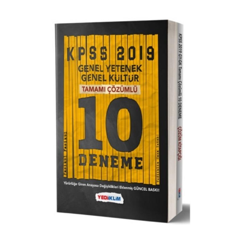 Yediiklim Yayınları 2019 KPSS Genel Yetenek Genel Kültür Tamamı Çözümlü 10 Fasikül Deneme