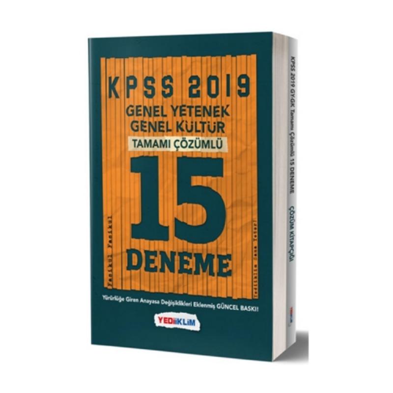 Yediiklim Yayınları 2019 KPSS Genel Yetenek Genel Kültür Tamamı Çözümlü 15 Fasikül Deneme