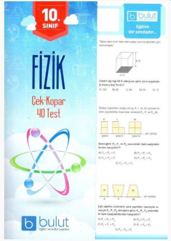 Bulut Eğitim ve Kültür Yayınları 10. Sınıf Fizik Çek Kopar 40 Test