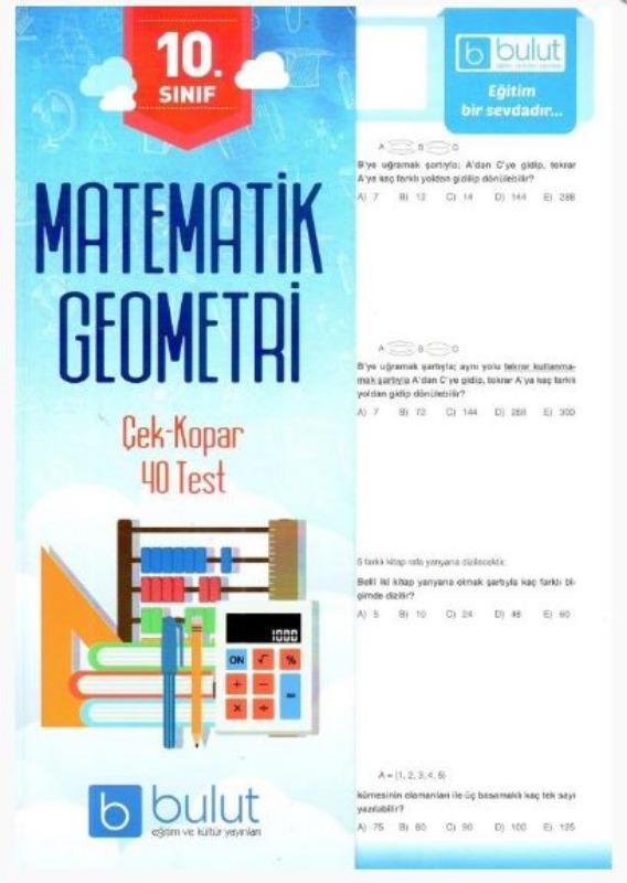 Bulut Eğitim ve Kültür Yayınları 10. Sınıf Matematik Geometri Çek Kopar 40 Test