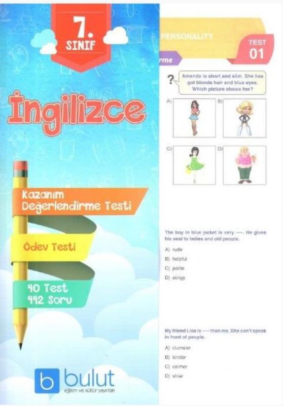 Bulut Eğitim ve Kültür Yayınları 7. Sınıf İngilizce Kazanım Değerlendirme Testi