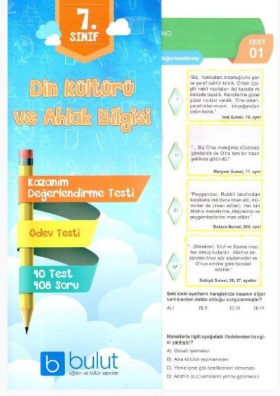 Bulut Eğitim ve Kültür Yayınları 7. Sınıf Din Kültürü ve Ahlak Bilgisi Kazanım Değerlendirme Testi