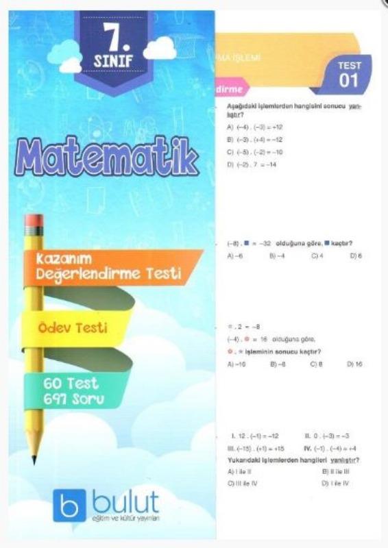 Bulut Eğitim ve Kültür Yayınları 7. Sınıf Matematik Kazanım Değerlendirme Testi