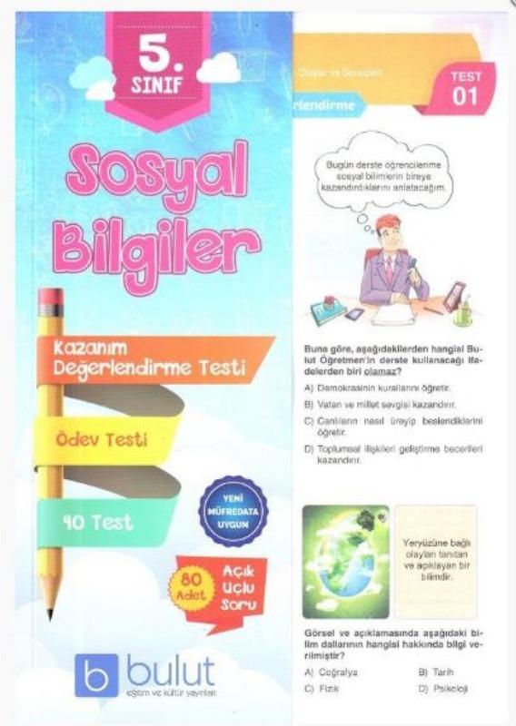 Bulut Eğitim ve Kültür Yayınları 5. Sınıf Sosyal Bilgiler Kazanım Değerlendirme Testi