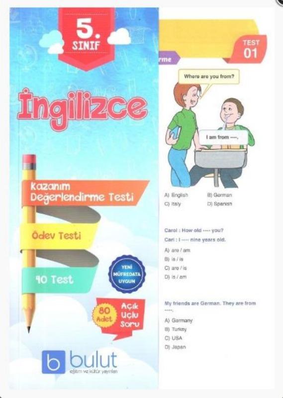 Bulut Eğitim ve Kültür Yayınları 5. Sınıf İngilizce Kazanım Değerlendirme Testi