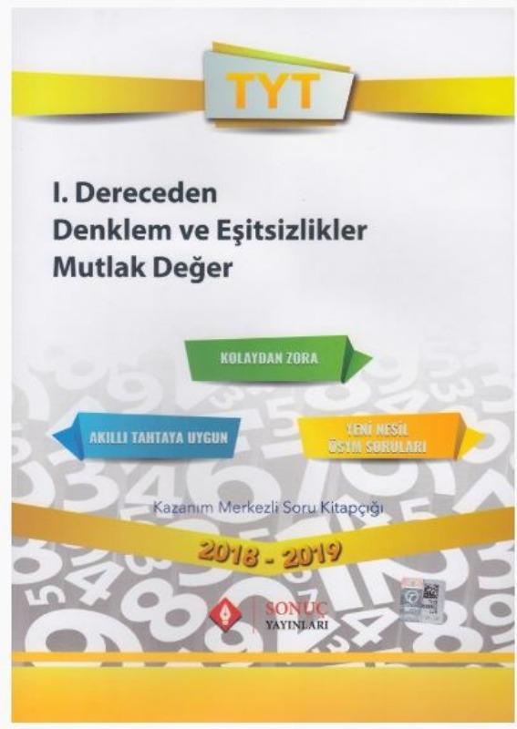 Sonuç Yayınları TYT 1. Dereceden Denklem ve Eşitsizlikler Mutlak Değer