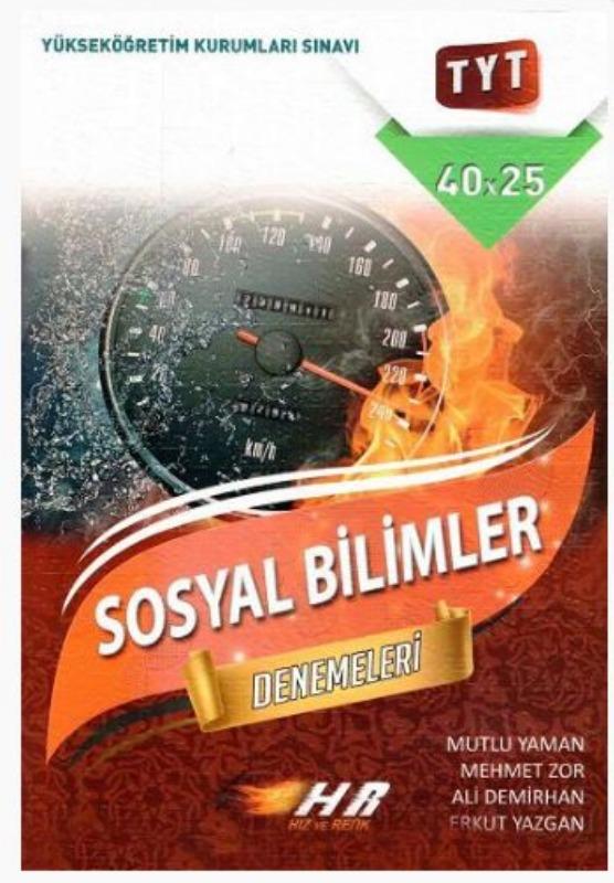 Hız ve Renk Yayınları YKS TYT Sosyal Bilimler Denemeleri 40x25