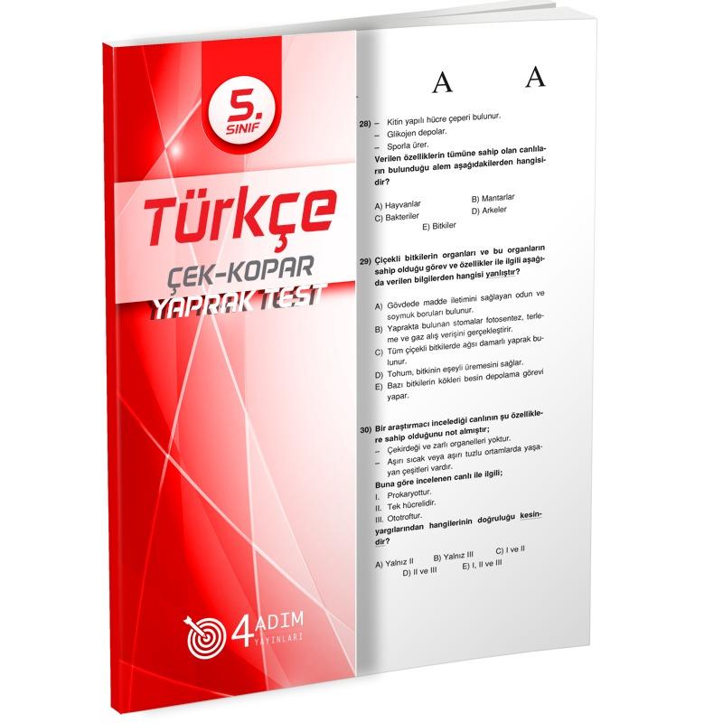 4 Adım Yayınları 5.Sınıf Türkçe Çek Kopar Testler