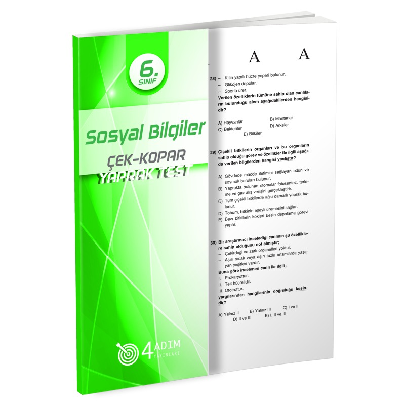 4 Adım Yayınları 6.Sınıf Sosyal Bilgiler Çek-Kopar Yaprak Test