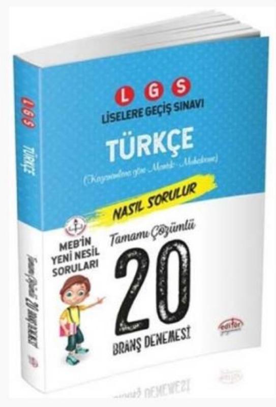 Editör Yayınları 8. Sınıf LGS Türkçe 20 Deneme Sınavı