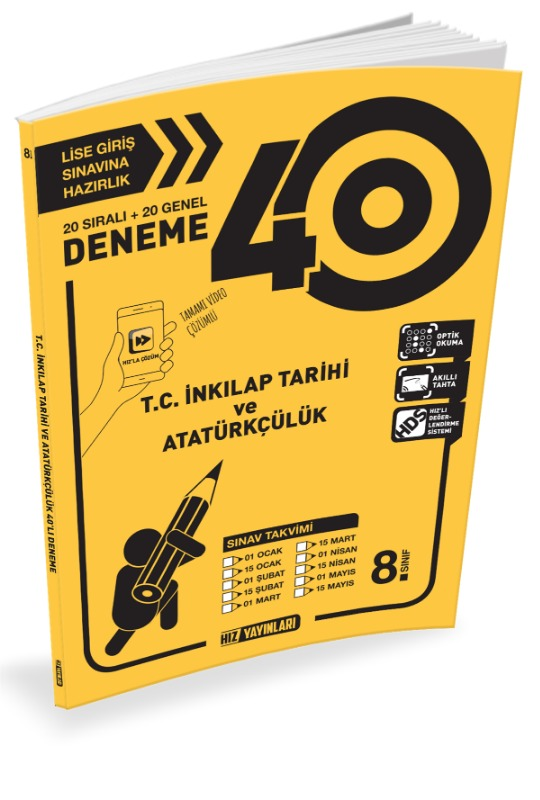 8.Sınıf LGS TC İnkilap 40 İnkilap Deneme  Hız Yayınları